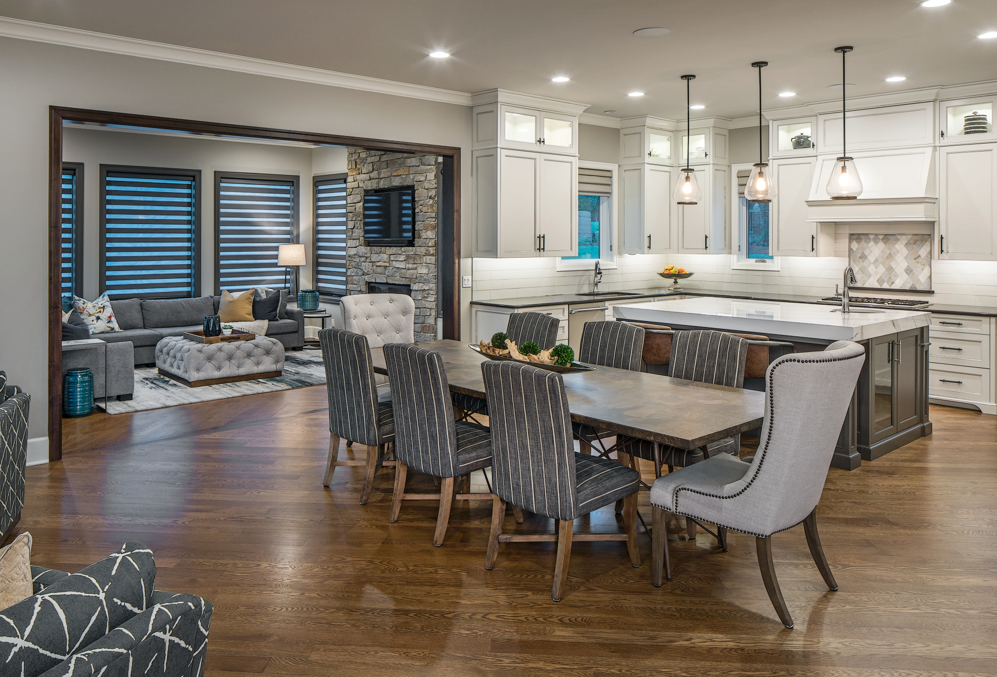 beautiful kitchen and family room