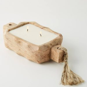 Scented candle in re-usable driftwood tray